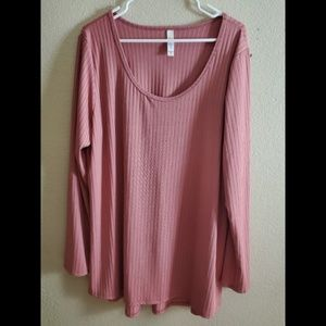 LuLaRoe 3XL Lynnae Long Sleeve Ribbed Pink Blouse